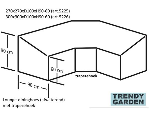 tekening lounge-dining set met trapeze hoek