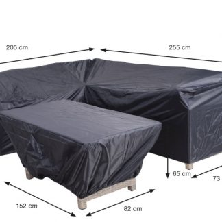 Lounge-diningn hoes met ongelijike zijden R255xL205xD73xH80 + tafelhoes 152x82xH65 Coverit® 300D ripstop polyester dubbel coated