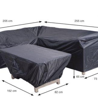 Lounge-diningn hoes met ongelijike zijden R255xL205xD73xH80 + tafelhoes 152x82xH65 Coverit® 300D ripstop polyester dubbel coated