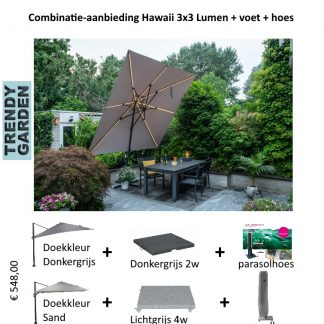 Combinatieprijs Hawaii Lumen met voet en hoes